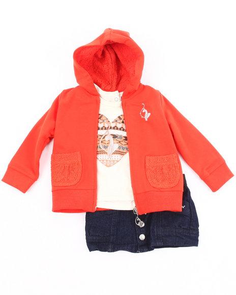 Baby Phat Girls Dark Wash 3 Pc Set - Hoodie, Tee, & Denim Skirt (2T-4T)
