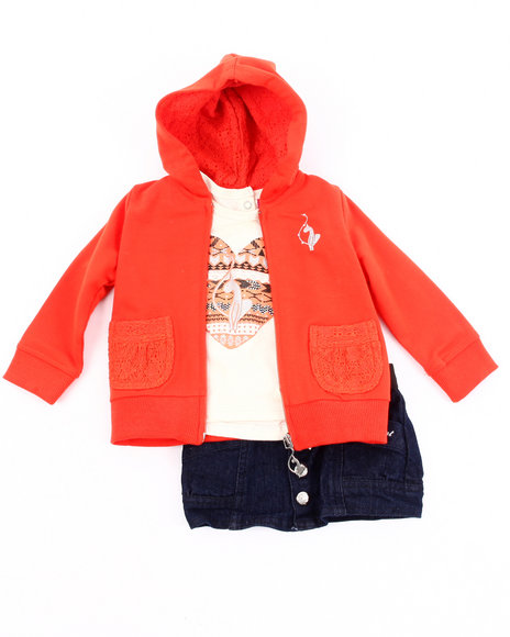 Baby Phat Girls Dark Wash 3 Pc Set - Hoodie, Tee, & Denim Skirt (Infant)