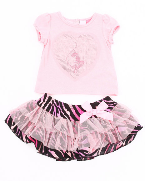Baby Phat Girls Pink 2 Pc Set - Tee & Zebra Print Tutu (2T-4T)