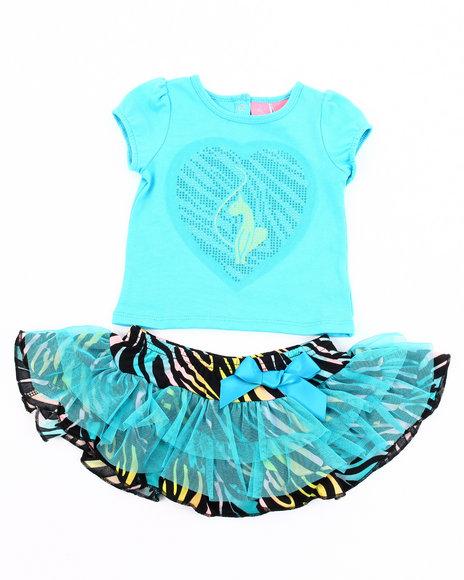 Baby Phat Girls Blue 2 Pc Set - Tee & Zebra Print Tutu (Newborn)