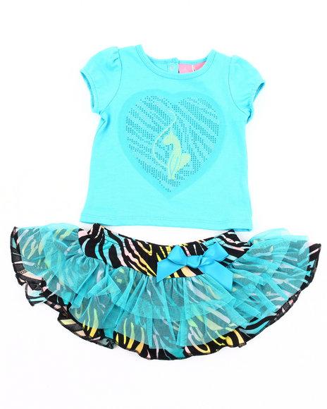 Baby Phat Girls Blue 2 Pc Set - Tee & Zebra Print Tutu (Infant)