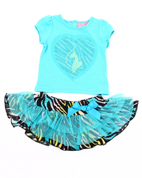 Baby Phat Girls Blue 2 Pc Set - Tee & Zebra Print Tutu (2T-4T)
