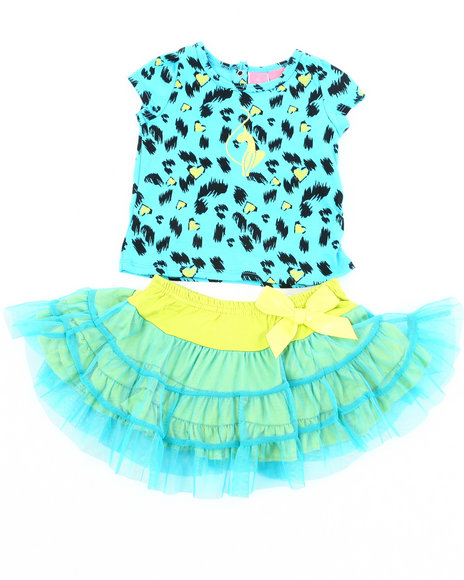 Baby Phat Girls Blue 2 Pc Set - Leopard Tee & Tutu (2T-4T)