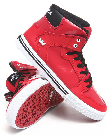 Supra Boys Black,Red Vaider Red Nubuck/Patent Leather Sneakers (Kids)