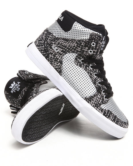 Supra Boys Black,Silver Vaider Snake Print Canvas Sneakers (Kids)