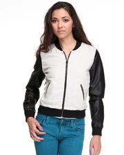 DJP OUTLET - Linen w/ Faux Leather Baseball Jacket