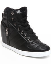 Sneakers - Planey Zipper Trim Wedge Sneaker