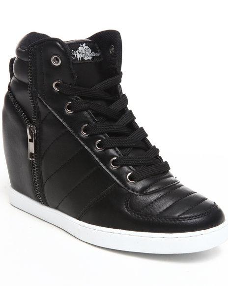 Apple Bottoms Women Black Planey Zipper Trim Wedge Sneaker