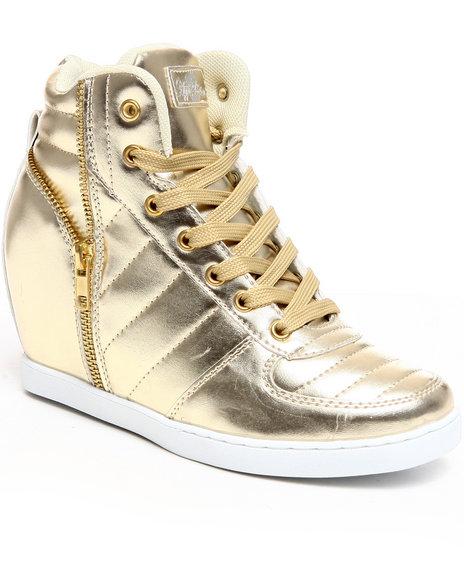 Apple Bottoms Women Gold Planey Zipper Trim Wedge Sneaker