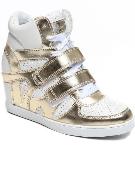 Apple Bottoms Gold,White Twinkle Wedge Sneaker