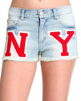 Women - NY Varsity Letter Cut off Denim Short