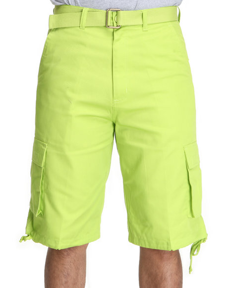 Basic Essentials Men Green Mens Cargo Shorts With Belt
