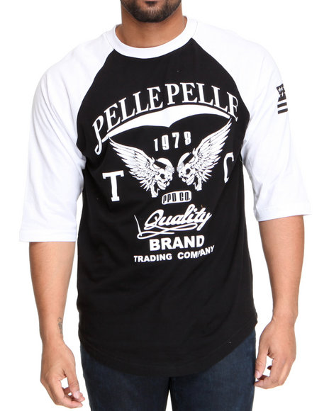 Pelle Pelle Men Black,White Pelle 3/4 Sleeve Raglan Tee