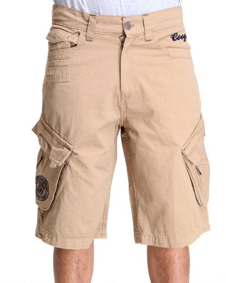 COOGI Men Khaki Patriot Draw String Cargo Shorts