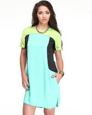 DJP OUTLET - S/S Scoop Neck Colorblocked Dress