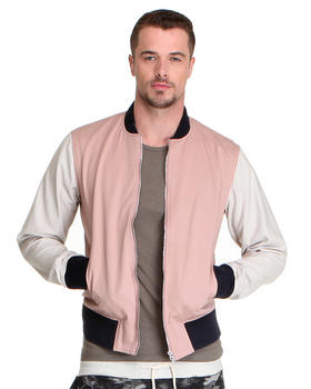 Shades of Grey by Micah Cohen - Muted Colorblock Twill Varsity Jacket