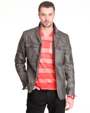 Jackets & Coats - 4B Chintzed Linen Notch Military Jacket