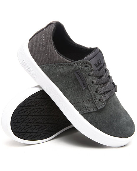 Supra Boys Charcoal Westwood Grey Suede/Canvas Sneakers (Youth)