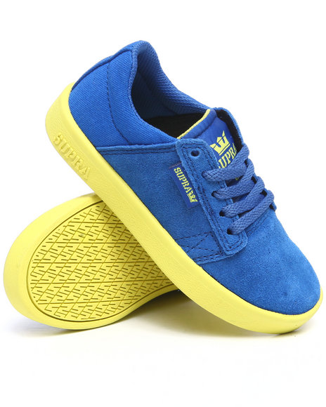 Supra Boys Blue,Yellow Westwood Royal Blue Suede/Canvas Sneakers (Youth)