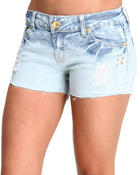 Basic Essentials - Grey Day Studded Jean Shorts