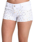Basic Essentials - Studded Jean Shorts w/jewels