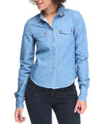Polos & Button-Downs - Long Sleeve Denim Top w/studs