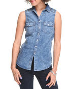 Outerwear - Studded Marbel wash Sleeveless TOP