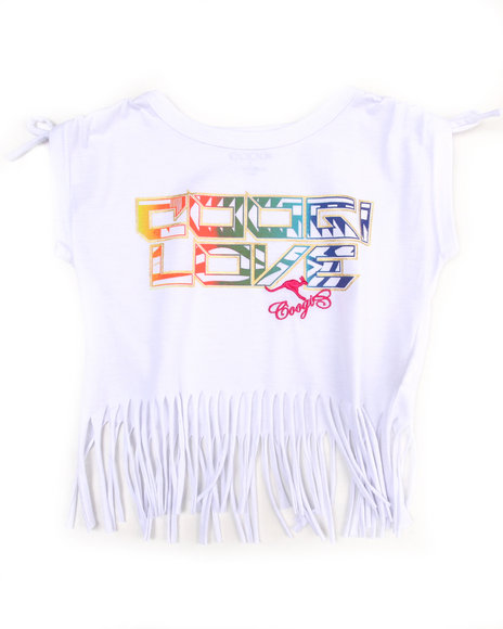 COOGI Girls White Boat Neck Fringe Tee (4-6X)
