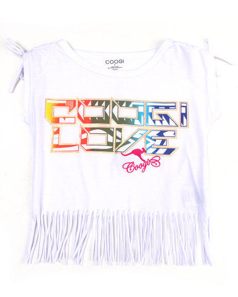 COOGI Girls White Boat Neck Fringe Tee (7-16)