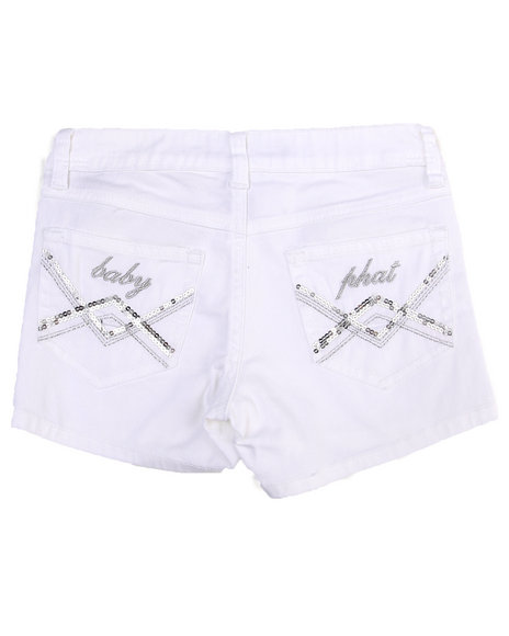Baby Phat Girls White Colored Twill Shorts (7-16)
