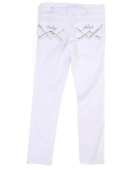 Baby Phat Girls White Colored Twill Jeans (7-16)