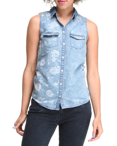 Basic Essentials Women Blue Floral Printed Sleeveless Denim Jacket