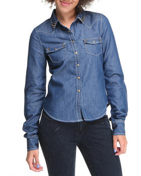 Basic Essentials - Long Sleeve Denim Top w/studs
