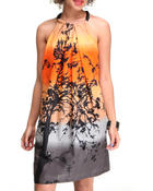 Women - Printed Dress w/sequins