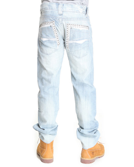 Pelle Pelle Men Light Wash New Encyme Wash Double Layer Pocket Denim Jeans