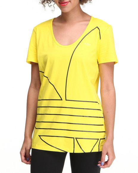Adidas Women Yellow Ef Trefoil Tee