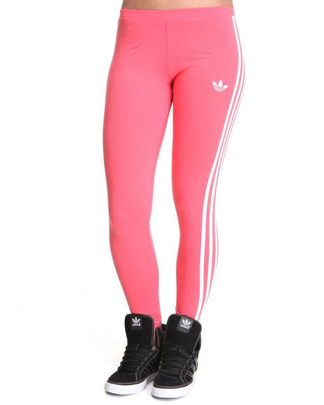 Adidas Women Orange,Pink 3 Stripes Leggings