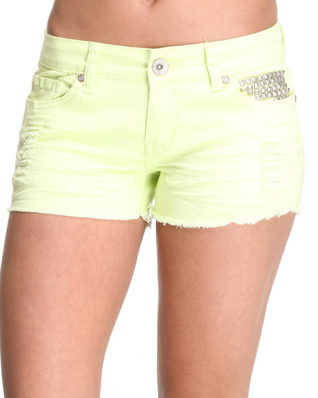 Basic Essentials Women Yellow Studded Pocket Jean Shorts