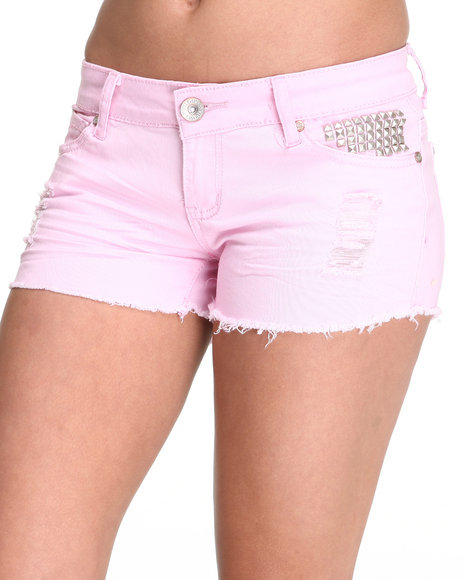 Basic Essentials Women Pink Studded Pocket Jean Shorts