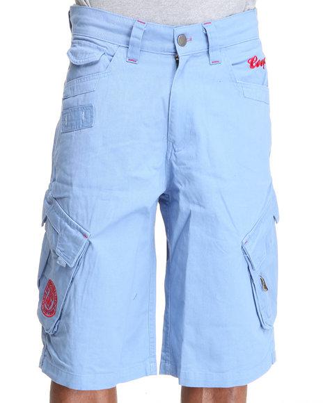 COOGI Men Light Blue Patriot Drawstring Cargo Shorts