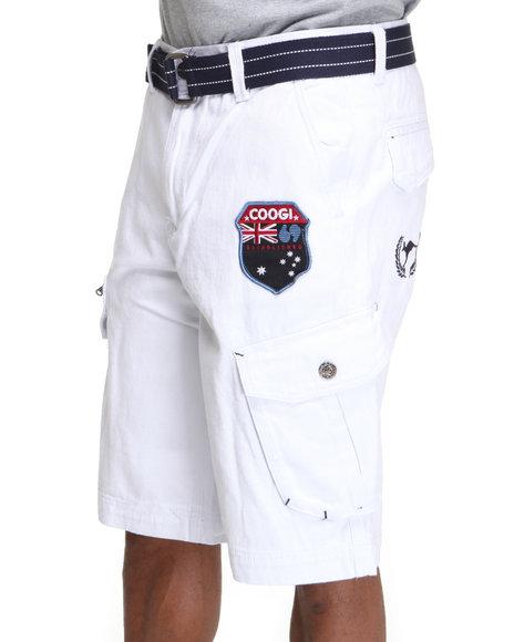 COOGI Men White Patriot Game Belted Cargo Shorts