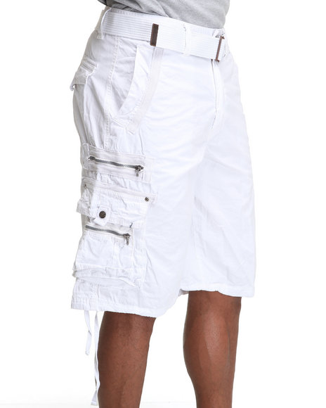 Basic Essentials Men White Mens Belted Garment Washed Cargo Shorts