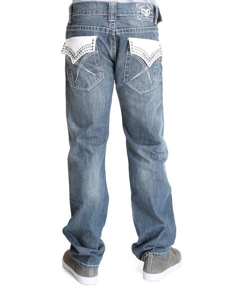 Pelle Pelle Men Medium Wash,White Handbrush Wash Leather Flap Pocket Denim Jeans