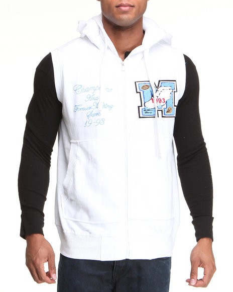 Buyers Picks - Men White French Terry Hoodie Vest W/ Patch Detail