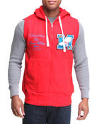Vests - French Terry Hoodie Vest w/ Patch Detail
