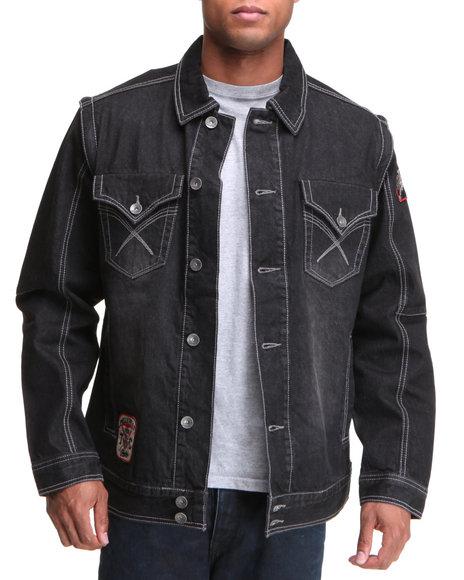 Pelle Pelle Men Black Black Raw Blasted Denim Jacket