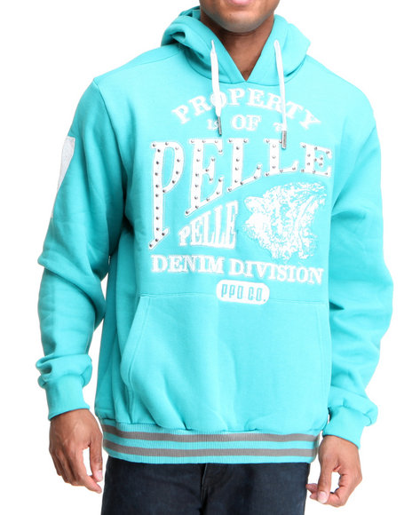 Pelle Pelle Men Green Pelle Denim Division Hoodie