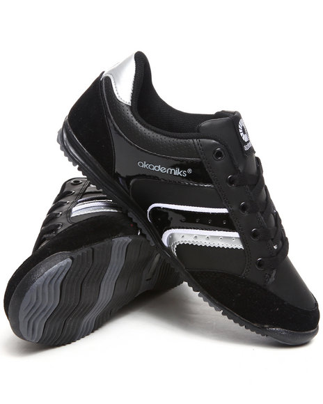 Akademiks Women Black,Grey Patent Low Profile Sneakers