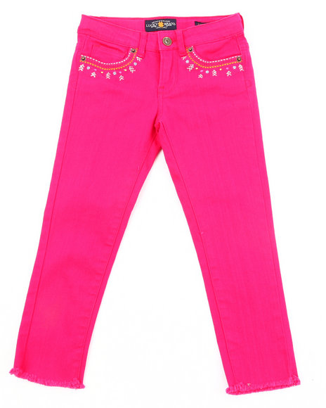 Lucky Brand Girls Pink Colored Twill Capris (7-16)