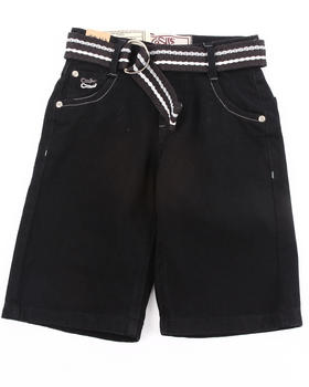 Arcade Styles - BELTED COLOR DENIM SHORTS (4-7)